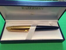 WATERMAN EDSON SAPHIRE BLUE & GOLD TRIM  FOUNTAIN PEN MEDIUM  PT  IN BOX  **