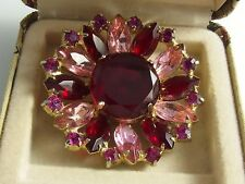 Vintage Pretty Gold-tone Pink & Red Rhinestone Glass Flower BROOCH PIN