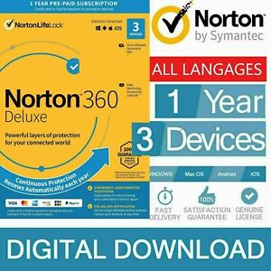 ANTIVIRUS NORTON 360 Deluxe Internet Security 2021 3 Devices PC MAC ANDROID +VPN