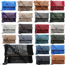 Zip Leather Outer Clutch Bags with Detachable Strap