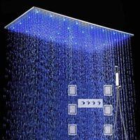 "40"" Rainfall Shower Heads Sets Bathroom Hot Cold Water Valve Faucet Bath Mixer"