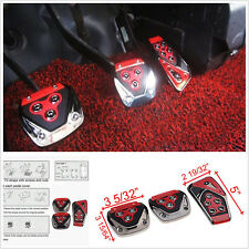 Red 3 PCS Non-Slip Performance Foot Pedals Pads Covers For Manual Car Universal