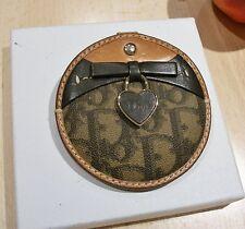 CHRISTIAN DIOR Rare & Unique Coated Canvas Leather Mono Compact Case & Mirror