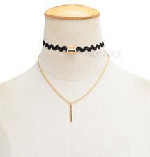 Choker Halskette Halsband Kette Collier Gold Kolye Kropfband Stoff Band Schwarz