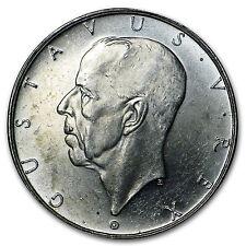 1938-G Sweden Silver 2 Kronor Settlement of Delaware AU/BU