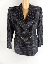 Escada COUTURE Femmes Vintage Blazer Veste De Sport Manches Longues Noir Soie Taille 38