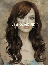 Classy Red Auburn Blonde Wavy Long Wig off center skin top Bangs JSPP 27/33/130