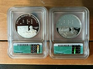2008-P Louis Braille Commemorative Silver Dollar Coins-Two Coins!
