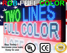 "FULL COLOR 12"" X 50"" SEMI-OUTDOOR PROGRAMMABLE TEXT IMAGE MESSAGE LED SIGN OPEN"