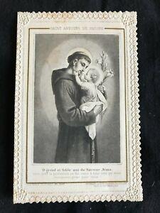SUPERBE CANIVET IMAGE PIEUSE HOLY CARD dentelle Saint Antoine de Padoue Letaille