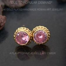 ANCIENT ROMAN ART PINK TOPAZ STUD EARRINGS 24K GOLD OVER STERLING SILVER BY OMER