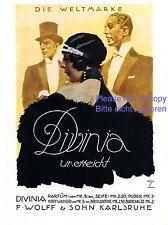 Parfüm Divinia Karlsruhe XL Reklame 1925 Ludwig Hohlwein Dame Herren Wolff +