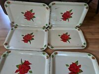 Lot of  6 Vintage White With Red Rose Metal Lap TV Trays