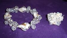 LOT BRACELET RING STRETCH CRYSTALS GLASS GEMSTONE BEAD CLEAR WHITE ROSES GLAMOUR