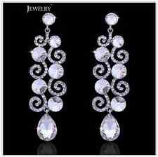 Sparkling Silver Austrian Diamante Crystal Big Drop Pendientes Earrings Wedding
