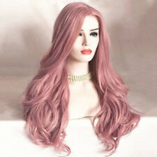 NEW Women Fashion Synthetic Hair Lace Front Wig Long Wavy Pink Full Wigs Cosplay