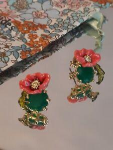 Les Nereides Emerald & Poppy Flower Stud Earrings Rrp £100  14ct Gold Plated
