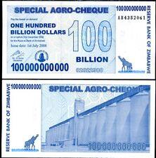 ZIMBABWE 100 BILLION AGRO CHEQUE 2008 P 64 XF/AUNC