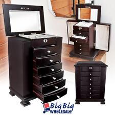 Wooden Jewelry Treasure Amoire Storage Box Organizer Cabinet Drawer W/ Mirror