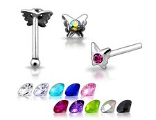 1 22g 6mm Silver Butterfly CZ Gem Nose Stud Ring N149