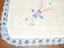 Vintage Crocheted Embroidered Floral Hanky Handkerchief