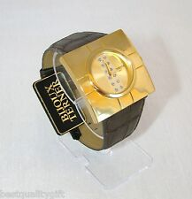 NEW BIJOUX TERNER BROWN FAUX LEATHER BAND GOLD DIAL WOMEN'S WATCH  #5386