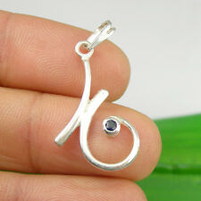 Sapphire Gemstone Fancy Curl Drop Pendant Genuine 925 Sterling Silver, P165