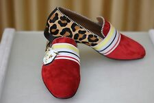 NEW CHRISTIAN LOUBOUTIN St Ordre Flat Suede Pony Leo Red Mens Loafers Shoe EU43