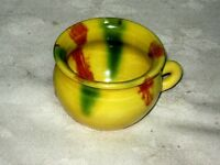 A Vintage Small Yellow Mottle Drip Glaze Australian Pottery Cup