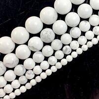 """Natural Gemstone White Howlite Round Bead 15"""" 4mm 6mm 8mm 10mm 12 Jewelry Making"""