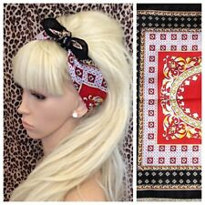 NEW BLACK RED GOLD BAROQUE PRINT COTTON BANDANA HEAD BAND HAIR NECK SCARF RETRO