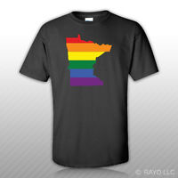 Minnesota State Shaped Gay Pride Rainbow Flag T-Shirt Tee Shirt Sticker LGBT MN