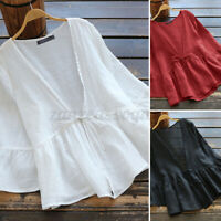 ZANZEA Women Casual Plus Size 3/4 Sleeve Top Tee T Shirt Kimono Cover Up Blouse