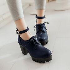 Retro Women Block Heels Platform Mary Jane Lolita Ankle Strap Lace Up Shoes Size
