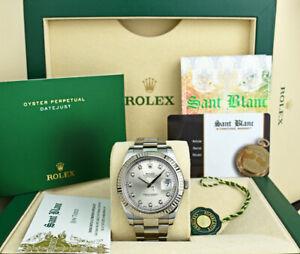 ROLEX Men's 41mm White Gold & SS DateJust II Silver Diamond 116334 SANT BLANC