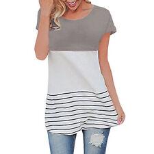 Women's Back Lace Tops Block Short Sleeve Lady Casual T-shirt Tunics Blouse New
