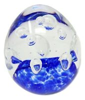 Clear Large Sphere Glass Bubble Paperweight Dark Blue Vintage Art Glass