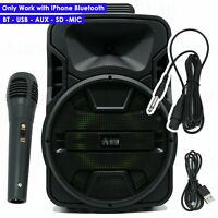 """12"""" Professional Powered Active 1200W DJ PA Speaker Bluetooth  W/ IPHONE ONLY"""