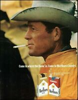 1970 Marlboro cigarettes cowboy weathered hat vintage photo print ad  adL36