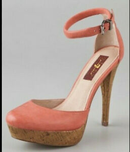 7 For All Mankind Minty Cork Pumps Heels Sz 8 Coral Pre-owned