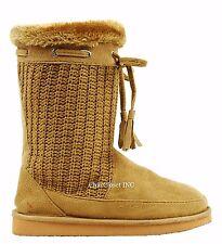 Women Tall Mid Calf Snow Winter Sweater Knit Faux Fur Shearling Warm Flat Boots