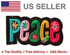 Peace Embroidered Iron On Sew on Patch Rainbow floral flower embroidery badge