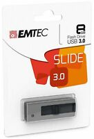 EMTEC B250 Slide  Clé USB 3.0 8Go 8Gb  Slide 3.0 Gris Clef key 8GO 8GB USB 3.0