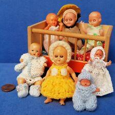 KONVOLUT ALTE PUPPEN BABY DOLL + BETT SAMMLER VINTAGE PUPPENHAUS PUPPENSTUBE
