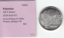 Palestine 2010 5 Dinars BU Silver Coin, Dove of peace by Picasso, Mintage 100