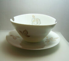 Rosenthal Continental Classic Rose Gravy Bowl Boat White Brown & Gold MCM NOS