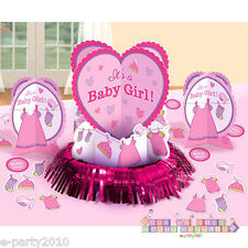 SHOWER WITH LOVE GIRL TABLE DECORATING KIT (23pc) ~ Baby Party Supplies Confetti
