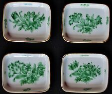 Vintage HEREND Set of 4 Different Green Floral Butter Pat/Dinner Mint Trays RARE