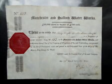 1809 Manchester and Salford Water Works £100 share certificate no.132 on vellum