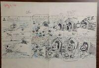 """Disney Studios Original Comic Strip Drawing of """"SCAMP"""" 7/3/78 by Bill Berg"""
